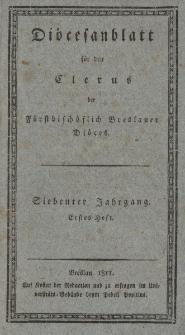 Diöcesenblatt für den Clerus der Fürstbischöflichen Breslauer Diöces. VIIter Jg, Ites H.