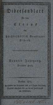 Diöcesenblatt für den Clerus der Fürstbischöflichen Breslauer Diöces. IXter Jg, IIItes H.