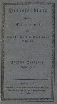 Diöcesenblatt für den Clerus der Fürstbischöflichen Breslauer Diöces. Xter Jg, Ites H.