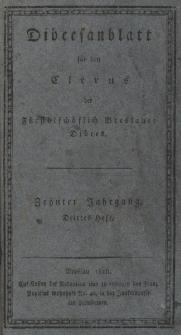 Diöcesenblatt für den Clerus der Fürstbischöflichen Breslauer Diöces. Xter Jg, IIItes H.