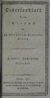Diöcesenblatt für den Clerus der Fürstbischöflichen Breslauer Diöces. Xter Jg, IVtes H.