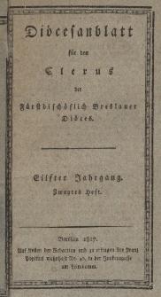 Diöcesenblatt für den Clerus der Fürstbischöflichen Breslauer Diöces. XIter Jg, IItes H.