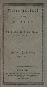 Diöcesenblatt für den Clerus der Fürstbischöflichen Breslauer Diöces. XIter Jg, Ites H.