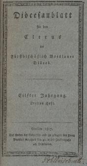 Diöcesenblatt für den Clerus der Fürstbischöflichen Breslauer Diöces. XIter Jg, IIItes H.