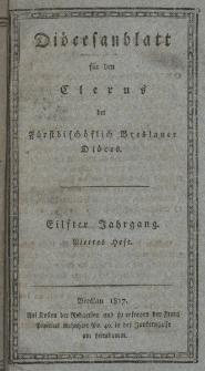 Diöcesenblatt für den Clerus der Fürstbischöflichen Breslauer Diöces. XIter Jg, IVtes H.