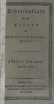 Diöcesenblatt für den Clerus der Fürstbischöflichen Breslauer Diöces. XIIter Jg, IItes H.