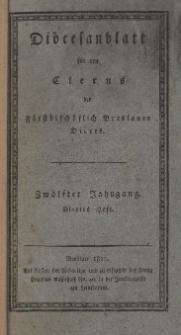 Diöcesenblatt für den Clerus der Fürstbischöflichen Breslauer Diöces. XIIter Jg, IVtes H.