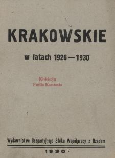 Krakowskie w latach 1926-1930