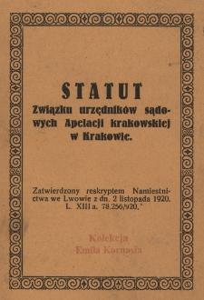 Statut Związku urzędników sądowych Apelacji krakowskiej w Krakowie