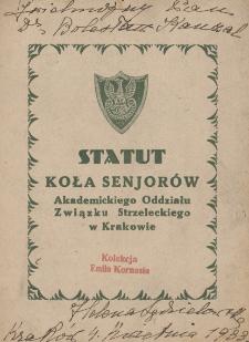 Statut Koła Senjorów Akademickiego Oddziału Związku Strzeleckiego w Krakowie