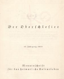 Der Oberschlesier : Monatsschrift für das heimatliche Kulturleben. Jg.12 : 1930 : H.12