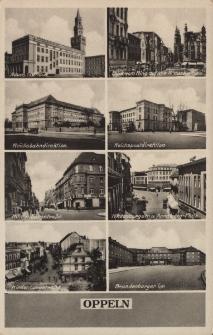 Oppeln : Neues Rathaus, Blick vom Ring auf die Kreuzkirche, Reichsbahndirektion, Reichpostdirektion, Hindenburgstrasse, Annaberg-Platz, Brandenburger Tor