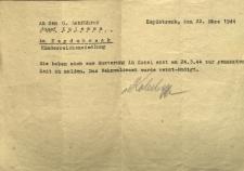 An den O.Lokführer Josef Kulessa... Sie haben sich zur Musterung in Cosel