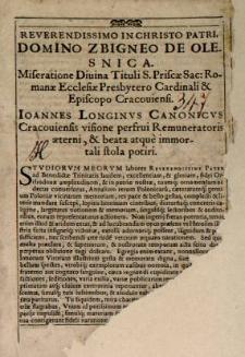 Historia Polonica Ioannis Długossi seuLongini Canonici Cracoviensis. In tres tomos digesta.