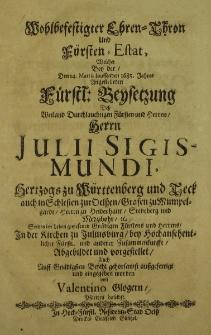 Wohlbefestigter Ehren - Thhron und Fürsten - Estat