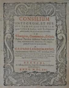 Consilium integrum… Aurimontano Silesio