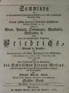 Sammlung aller in dem souverainen Herzoghthum Schlesien t.6