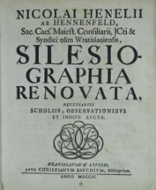 Silesiographia renovata t.I