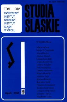 Studia Śląskie. Seria Nowa. T.64