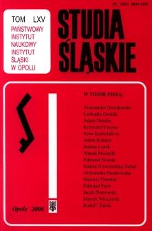Studia Śląskie. Seria Nowa. T.65