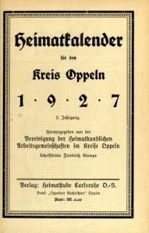 Heimatkalender für den Kreis Oppeln, Jg.2