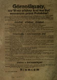 Górnoślązacy! Czy wasz piękny kraj ma być wyssanym przez Polaków? Oberschlesier, soll Euer schönes Land von den Polen ausgesaugt werden?