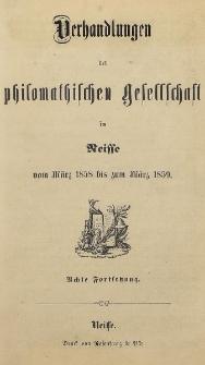 Verhandlungen der philomatischen Gesellschaft in Neisse vom März 1858 bis zum März 1859. [H.8]
