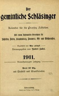 Der Gemittliche Schläsinger : Kalender für die Provinz Schlesien, 1911