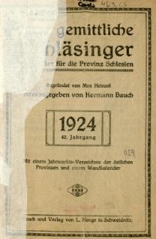 Der Gemittliche Schläsinger : Kalender für die Provinz Schlesien, 1924