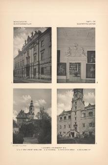 Tafel 176 Gesamtansichten : Liegnitz Steinmarkt No3 ; Grafenort Schloss (Ahnensaal, vom Kirchwege, Schlosshof)