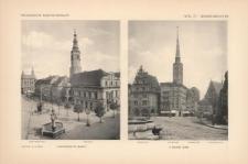Tafel 177 Gesamtansichten : Schweidnitz Markt (Jesuitenkirche, Rathaus) ; Neisse Ring (Wagehaus, Ratsturm, Pfarrturm, Jacobikirche)