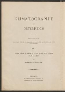 Klimatographie von Mähren und Schlesien
