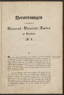 Verordnungen des Fürstbischöflichen General Vicariat - Amtes zu Breslau [nr 1- 150]