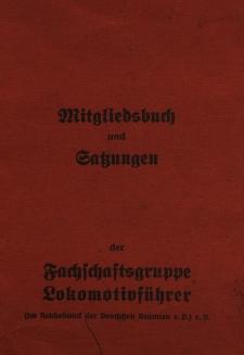 Mitgliedsbuch und Satzungen der Fachschaftsgruppe Lokomotivführer (im Reichsbund der Deutschen Beamten e.V.)