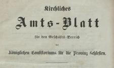 Kirchliches Amts-Blatt für den Geschäfts-Bereich des Königlichen Consistorium für die Provinz Schlesien, 1878