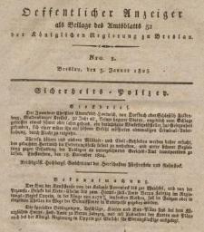 Öffentlicher Anzeiger als Beilage des Amtsblatts der Königlichen Regierung zu Breslau,1825