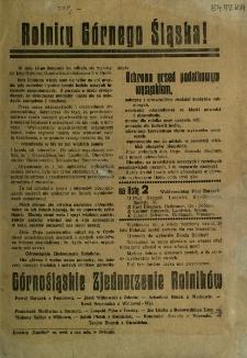 Rolnicy Górnego Śląska [Inc.:] W dniu 14-go listopada odbędą się wybory... [Podpis:] Górnośląskie Zjednoczenie Rolników