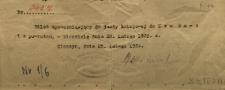 Bilet upoważniający do jazdy kolejowej do Krakowa i z powrotem, w niedzielę dnia 29 lutego 1920. Nr 3422