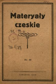 Materiały czeskie. Nr 16 : m.in. historia Ks.Cieszyńskiego, polityka Czech wobec Polski