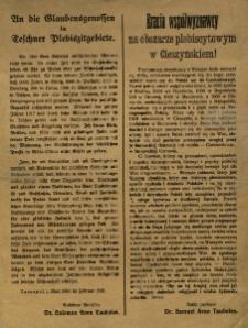 Bracia współwyznawcy na obszarze plebiscytowym w Cieszyńskiem!