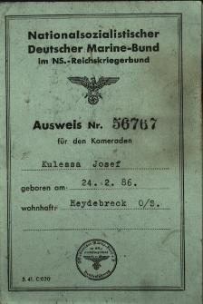 Ausweis Nr.56767 für den Kameraden Kulessa Josef...