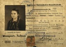 Deutsche Reichsbahn-Gesellschaft Peronenausweis Nr 730...Margarete Kulessa