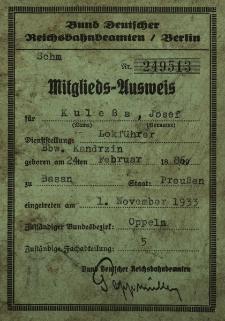 Mitglieds-Ausweis für Kulessa Josef...Lokführer