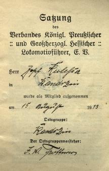 Satzung des Verbandes...Lokomotivführer...Josef Kulessa in Kandrzin