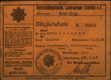 Mitgliedskarte Nr 3366 für Marie Kulessa...