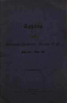 Satzung der Eisenbahn=Sterbekasse Breslau...Maria Kulessa