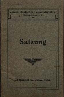 Satzungen des Vereins Deutscher Lokomotivführer für das Mitglied Herrn Josef Kulessa No 65241