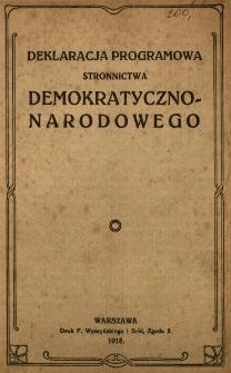 Deklaracja programowa Stronnictwa Demokratyczno-Narodowego