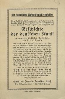 Der freunlichen Aufmerksamkeit empfohlen...Geschichte der deutschen Kunst in gemeinverständlicher Darstellun von Arthur Dobsky