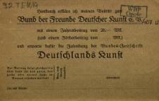 An die Geschaftsstelle des Bundes de Freunde Deutscher Kunst